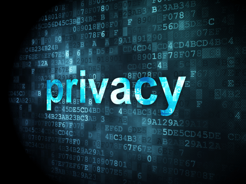 Security concept: pixelated words Privacy on digital background, 3d render